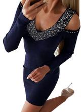 Mulheres vestido de malha strass ombro frio vestido de camisola de mangas compridas