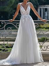 Robe de mariée simple Une ligne V Cou sans manches dentelle Applique Tulle Robe de mariée