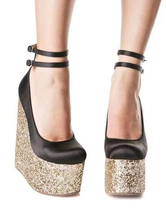 Lady's Wedge Shoes Chic Buckle Round Toe Ankle Strap Woman's Shoes