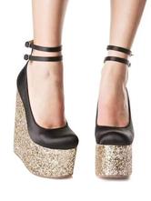 Zapatos de cuña para mujer Hebilla elegante Correa de tobillo con punta redonda Zapatos de mujer