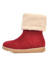 Womens Xmas Snow Boots Round Toe Flat Mid Calf Boots