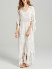 Vestido Boho V Neck mangas curtas vestido de praia bordado