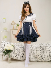 Sailor Style Lolita Outfit Lace Double Breasted Short Sleeve Top With Layered Skirt