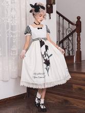 Robe classique Lolita OP qui a planté le lys noir liseré floral en dentelle imprimée arcs robes lolita blanches One Piece