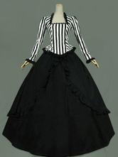 Mulheres retro trajes babados rendas listra vestido de baile halloween little women dress