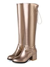 Stivali alti rotondo PU Verniciata Stivali al ginocchio Stivali tacco largo Oro  6cm monocolore Primavera Autunno Zip casuale chic & moderna