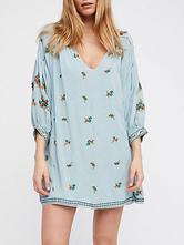 Boho vestido curto mangas com decote em v algodão bordado vestido de verão