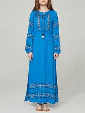 Vestido azul Boho mangas compridas vestido maxi bordado