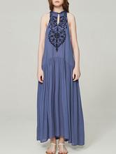 Boho Maxi Dress Vestido de verão sem mangas bordado