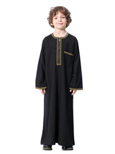 Boys' Arabian Robe Solid Color Long Sleeve Arabian Abaya