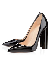 Women's High Heels Black Pointed Toe Chunky Heel Sexy Pumps