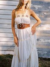 Vestido Boho correias pescoço vestido sem mangas bordado de verão