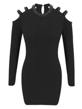 Bodycon Dresses Black Jewel Neck Studded Casual Long Sleeves Pencil Dress