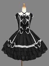Klassische Lolita OP-Kleid Rüschen Schwarz kurzen Ärmeln Lolita One Piece Kleider