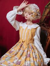 Sweet Lolita Blusen Neverland Lolita Top Weiß mit langen Ärmeln Rüschen Farben-Block-Lolita Hemd