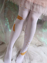 Sweet Lolita Tights Neverland White Polyester Floral Print Lolita Accessories
