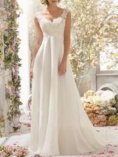 Vestido de noiva uma linha decote em v sem mangas rendas flora frisado vestidos de noiva com trem