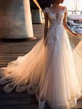 Brautkleider A Line Tüll V-Ausschnitt mit kurzen Ärmeln Spitze Brautkleider mit Schleppe