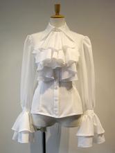 Gothic Lolita Blusen Lolita Top Rüschen Langarm Weißes Lolita Shirt