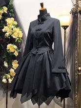 Gothic Lolita Coats Black Woven Cotton Blend Top Lolita Outwears