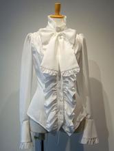 Gothic Lolita Blusen Weißes Lolita Top mit langen Ärmeln zum Schnüren Lolita Shirt
