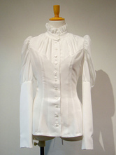Gothic Lolita Blouses White Long Sleeves Lace Up Lolita Top Lolita Shirt