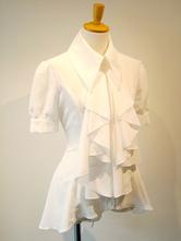 Gothic Lolita Blusen Lolita Top Rüschen kurzen Ärmeln Weiß Lolita Hemd