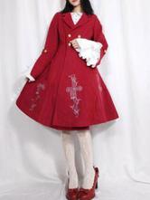 Gothic Lolita Mäntel Rote Rüschen Zweifarbiger Mantel Synthetischer Winter Lolita Outwears