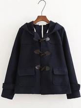 Klassische Lolita Mäntel Dark Navy PU Overcoat Synthetic Winter Lolita Outwears