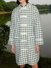 Klassische Lolita Mäntel Baby Blue Coat Metal Details Plaid Overcoat Synthetische Lolita Outwears