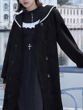 Sweet Lolita Mäntel Schwarzer Paspelüberzug Synthetische Lolita Outwears