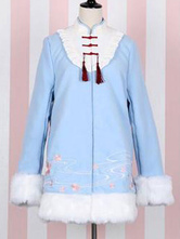 Chinese Style Lolita Coats Light Sky Blue Fringe Embroidered Synthetic Overcoat Winter Lolita Outwears