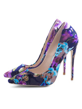 Women's High Heels Floral Printed Slip-On Pointed Toe Plus Size Pumps