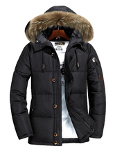 Men's Parka Quilted Winter Coats Puffer Faux Fur Hooded Outerwear