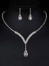 Jewelry Sets Silver Lobster Claw Clasp Metal Alloy Rhinestone Pierced 2 Piece Jewelry Set
