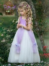 Flower Girl Dresses Square Neck Taffeta Short Sleeves Ankle Length Princess Silhouette Flowers Kids Social Party Dresses