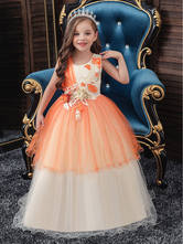 Flower Girl Dresses Jewel Neck Polyester Cotton Sleeveless Ankle Length Princess Silhouette Bows Formal Kids Pageant Dresses
