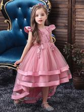 Vestidos de niña de flores Cuello joya Tul sin mangas con tren Princesa Silueta Arcos Vestidos de fiesta social para niños