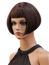 Синтетические парики темно-коричневые прямые вискозы короткие женщины короткие парики