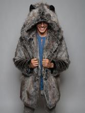 Men's Hooded Faux Fur Coats Fuzzy Jackets Overcoats