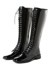 Botas hasta la rodilla Botas de tacón de bloque plano de punta cuadrada de charol genuino