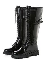 Botas de combate para mujer Botas de charol hasta la rodilla con cordones planas