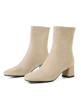 """Women Sock Boots Ankle Boots Elastic Fabric Square Toe Block Heel 2"""" Booties"""