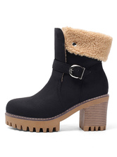 "Women Shearling-lined Boots Round Toe 3.1"" Block Heel Booties"