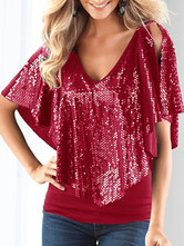 Christmas Clubwear Top Enticing V Neck Sequins Sleeveless Top