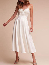 Short Wedding Dress V Neck Sleeveless A Line Tea Length Straps Bridal Gowns