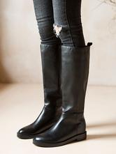 Bottes au genou en cuir de vachette Chaussures noir à bout rond pour femmes