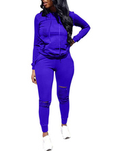 Two Piece Sets Blue Tracksuit Long Sleeves Hoodie Outfit