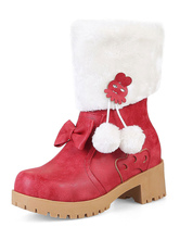Women Xmas Red Ankle Boots Fur Trim For Christmas