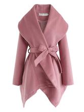 Пальто для женщин Водолазка на шнуровке Повседневное асимметричное черное пальто с запахом